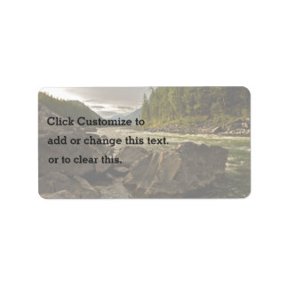 Shallow river in a valley address label