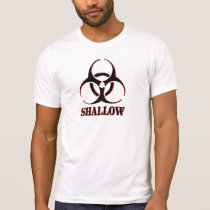 Shallow shirt with biohazard symbol.
