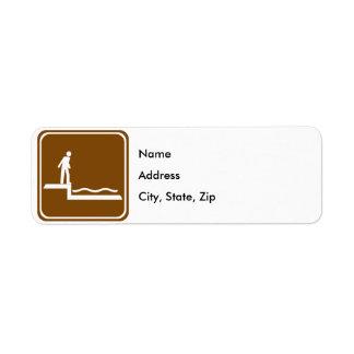 Shallow Water Warning Highway Sign Return Address Label