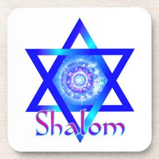 Shalom and Blue Star of David Coaster