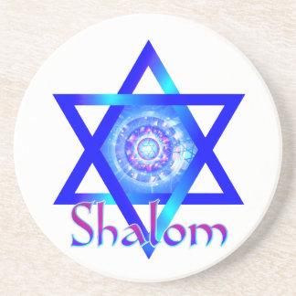 Shalom and Blue Star of David Drink Coaster