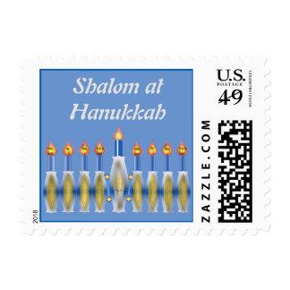 Shalom at Hanukkah Custom Text Lit Menorah Postage
