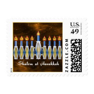 Shalom at Hanukkah, Stylized Menorah Postage