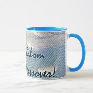 Shalom at Passover White Clouds on Blue Mug