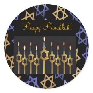 Shalom! Blue & Gold Small Round Sticker sticker