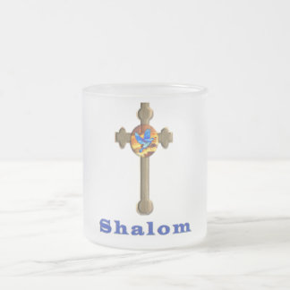 Shalom cross frosted glass coffee mug
