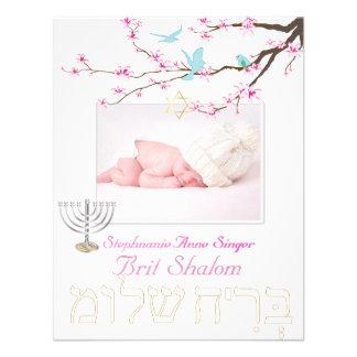 Shalom del británico de PixDezines/flores de cerez Invitación Personalizada