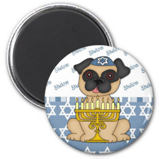 Shalom Fawn Pug Hanukkah Card 2 Inch Round Magnet