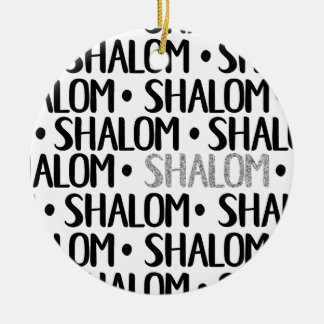 Shalom in Black & Silver Ceramic Ornament