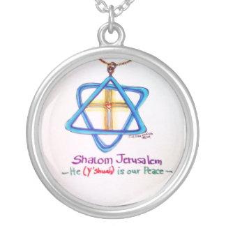 Shalom Jerusalem Silver Plated Necklace