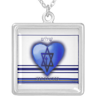 Shalom  Neclace Square Pendant Necklace