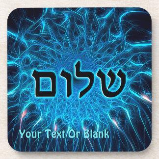Shalom On Blue Fractal Beverage Coaster