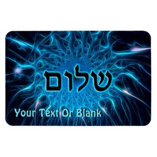 Shalom On Blue Fractal Rectangular Magnet
