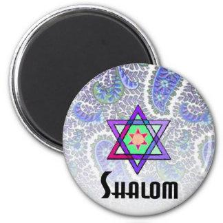 Shalom Paisley blue 2 Inch Round Magnet