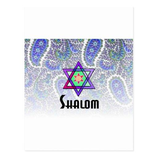 Shalom Paisley blue Postcard