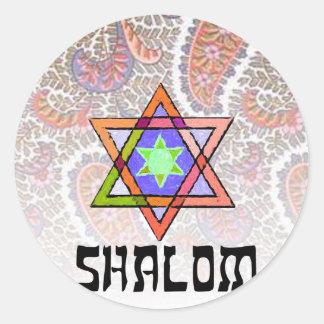 Shalom Paisley rosada Etiqueta Redonda