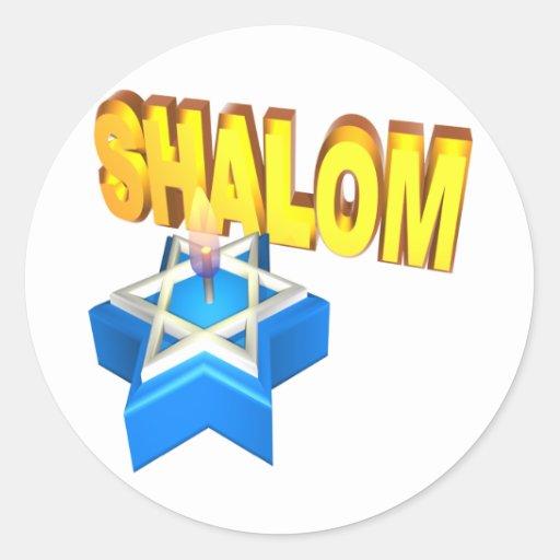 Shalom Pegatinas Redondas