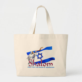 SHALOM Pray for Peace of Jerusalem Large Tote Bag
