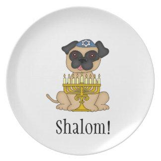 Shalom!-Pug Dog with Menorah Dinner Plate