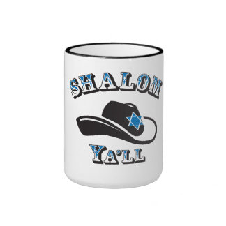 Shalom que usted asalta taza a dos colores