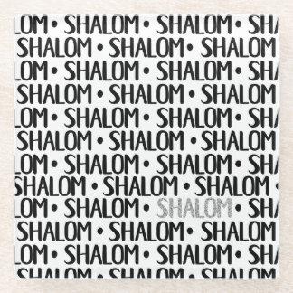 Shalom Repeat Black & Silver Glass Coaster