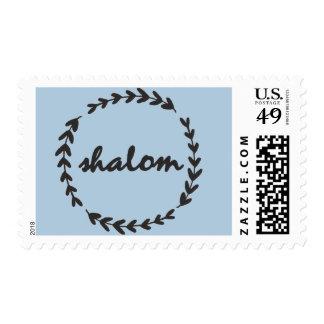"""""""shalom"""" Rustic Leaf Design Postage Stamp"""