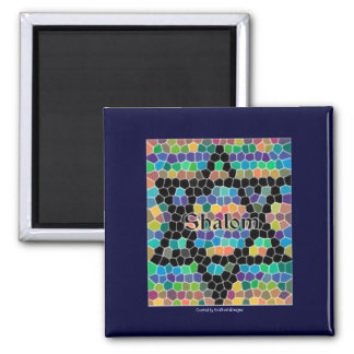 Shalom-Star of David Mosaic-Colorful 2 Inch Square Magnet