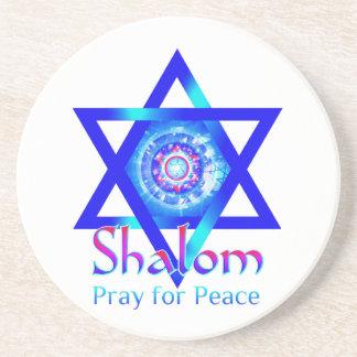 SHALOM Star of David_Pray for Peace of Israel Sandstone Coaster