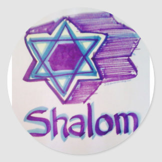 Shalom Star of David products Classic Round Sticker