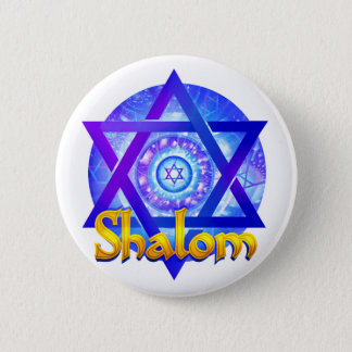 SHALOM with Star of David Medallion Button