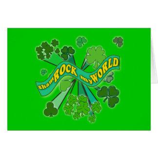 sham ROCK my WORLD Green St Pats Tshirt Card