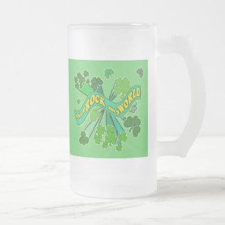 sham ROCK my WORLD Green St Pats Tshirt Frosted Glass Beer Mug
