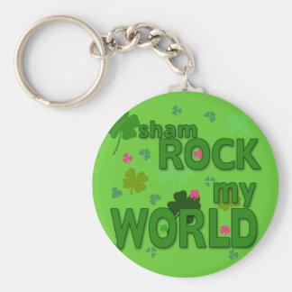 Sham Rock My World with Shamrocks Basic Round Button Keychain