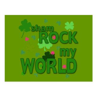 Sham Rock My World with Shamrocks Postcard