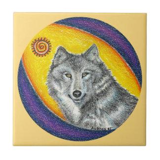 Shaman Healing Wolf (golden orange) Ceramic Tile