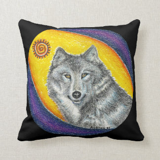 Shaman Healing Wolf Throw Pillow