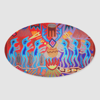 Shaman Ritual Huichol Oval Sticker
