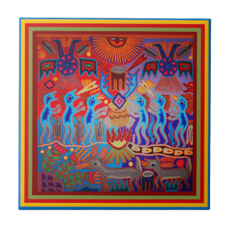 Shaman Ritual Huichol Ceramic Tile