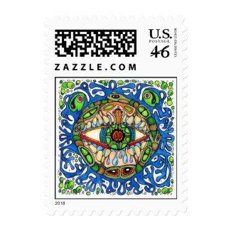 Shaman Spirit: Blue Frog Eye shaman Medicine Postage Stamp