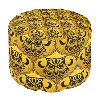 Shamanic Night Owl Mosaic Pattern + your idea Round Pouf