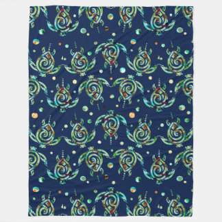 Shamanic Sea Turtle seamless pattern + your backg. Fleece Blanket