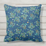 Shamanic Sea Turtle seamless pattern + your backg. Throw Pillow