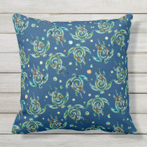 Shamanic Sea Turtle seamless pattern   your backg. Throw Pillow