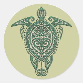 Shamanic Sea Turtle Symbol + your ideas Round Stickers