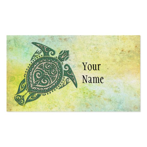 Shamanic Sea Turtle Symbol + your ideas & text Business Card