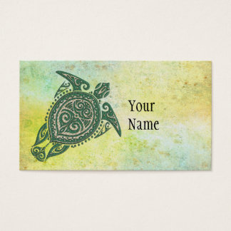 Shamanic Sea Turtle Symbol + your ideas & text Business Card