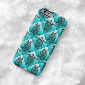 Shamanic Sea Turtles Pattern - cyan Barely There iPhone 6 Case