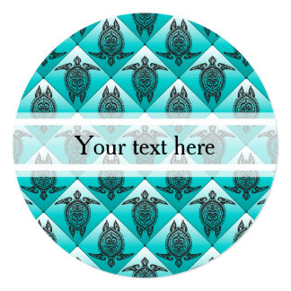 Shamanic Sea Turtles Pattern - cyan Card