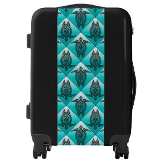Shamanic Sea Turtles Pattern - cyan Luggage