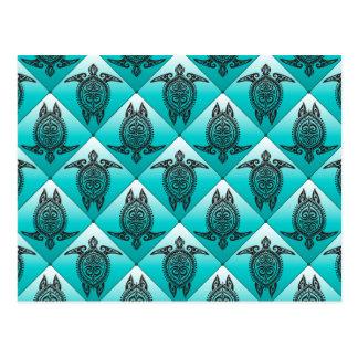 Shamanic Sea Turtles Pattern - cyan Postcard